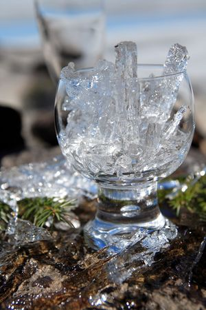 Glasses with ice on the edge of a frozen lake Stock Photo - 3105888