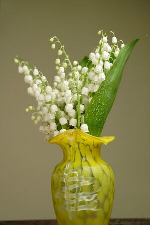 Bunch of lily of the valley in a yellow vase Stock Photo - 3150061