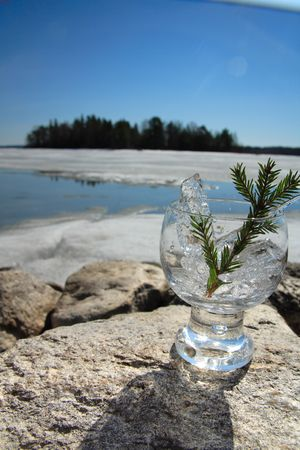 Glasses with ice on the edge of a frozen lake Stock Photo - 3150074