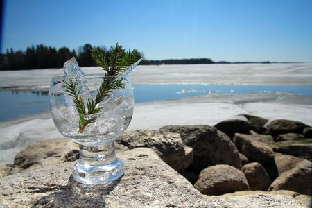 Glasses with ice on the edge of a frozen lake Stock Photo - 3170102