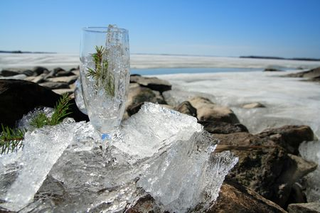 Glasses with ice on the edge of a frozen lake Stock Photo - 3170101