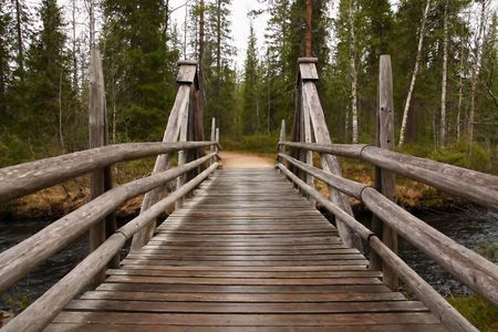 Wooden bridge in a forest along the trekking path photo