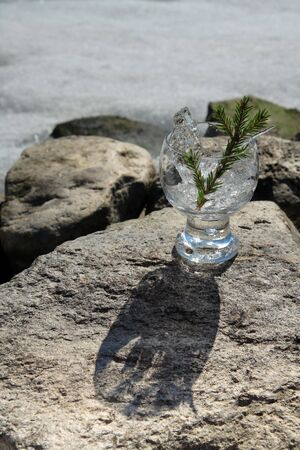 Glasses with ice on the edge of a frozen lake Stock Photo - 3256431