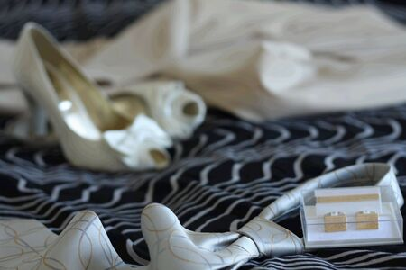 Groom's necktie, wedding shoes and dress before  the wedding Stock Photo - 3280660