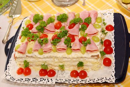 Sandwich layers with ham, vegetables, cheese and sauces Stock Photo