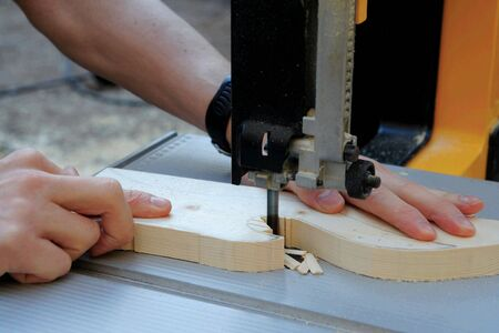 Close up of  man shaping a wood piece Stock Photo - 3352086