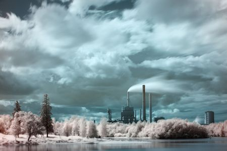 infra red: Infra red photo of city scape and park