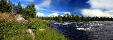 River panorama on a sunny day in Sweden