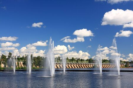 Water fountains in the centre of Oulu, Finland Stock Photo