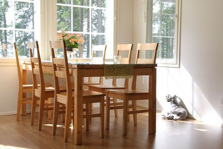 Interior of a home, dining room and dog Stock Photo