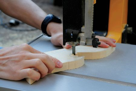 Close up of  man shaping a wood piece Stock Photo - 3622490