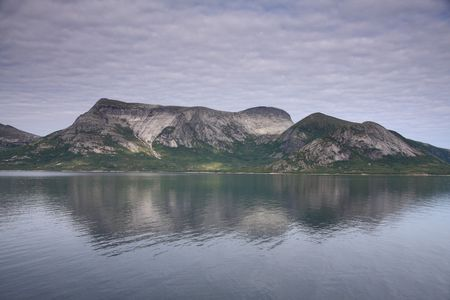 Norway scenery with beautiful mountains and sea photo