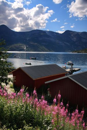 Norway scenery with mountains and fishing boats Stock Photo - 3633976