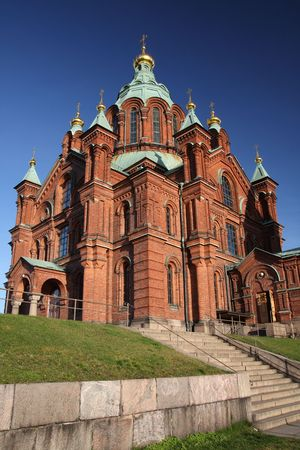 Red brick orthodox church in Helsinki, Finland
