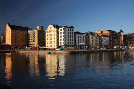 The sea shore in the centre of Helsinki in Finland Stock Photo