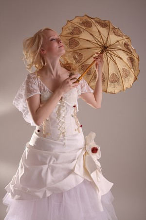 Beautiful model wearing a wedding dress, studio Stock Photo - 4257401