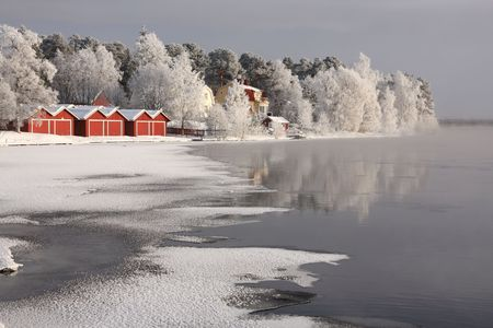 Very cold day, view over a river in Finland