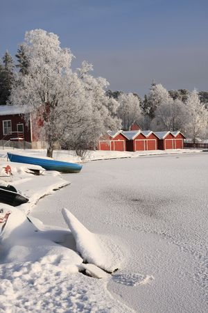 Very cold day, view over a river in Finland Stock Photo - 5339203