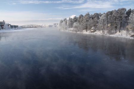 very cold: Very cold day, view over a river in Finland