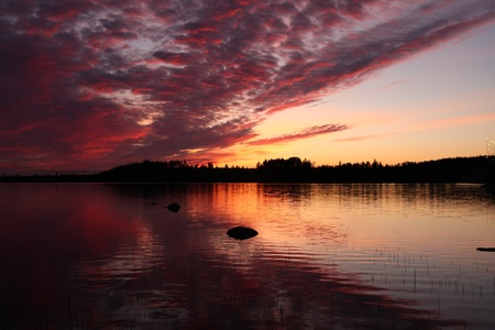 Beautiful lake sunset in Finland in the summer photo