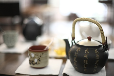 Beautiful tea serving set, close up detail photo