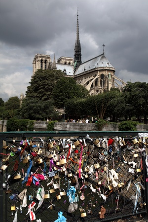 Locks on bridge behind Notre Dame, Paris