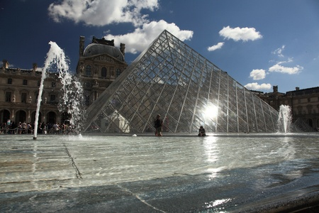 louvre pyramid: View of Louvre museum in Paris, France Editorial