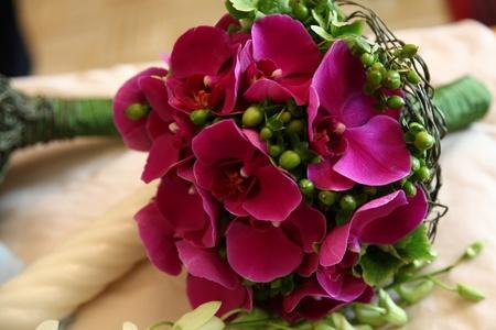 bruidsboeket: Mooie bruidsboeket met phalaenopsis orchidee bloemen Stockfoto