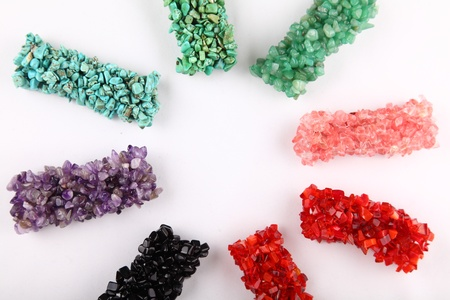 green tourmaline: Collection of gemstones bracelets in rainbow colors Stock Photo