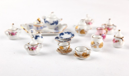 Collection of miniature tea set from a dollhouse Stock Photo - 12749839