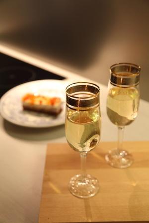 Champagne glasses in beautiful modern kitchen Stock Photo - 13056976