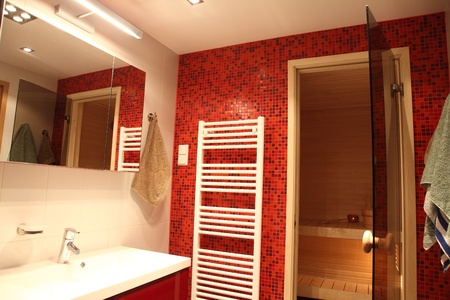 Modern Finnish bathroom with sauna, red tiles and heater Stock Photo - 13057055