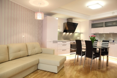 condominium: Beautiful modern kitchen with modern lighting, interior Stock Photo