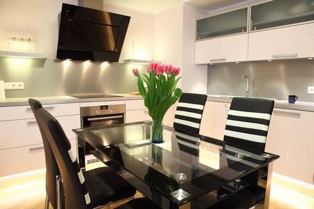 Beautiful modern kitchen with modern lighting, interior photo