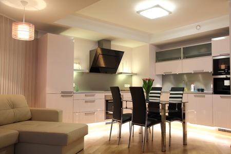Beautiful modern nordic kitchen with modern lighting photo