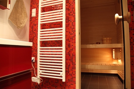 Modern Finnish bathroom with sauna, red tiles and heater