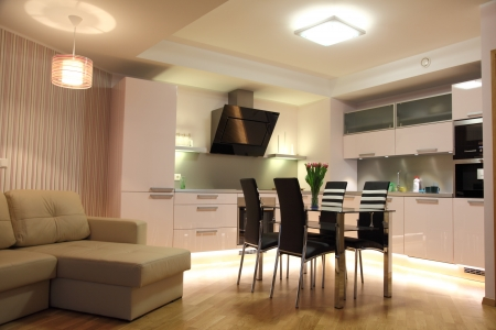 Beautiful modern nordic kitchen with modern lighting Stock Photo