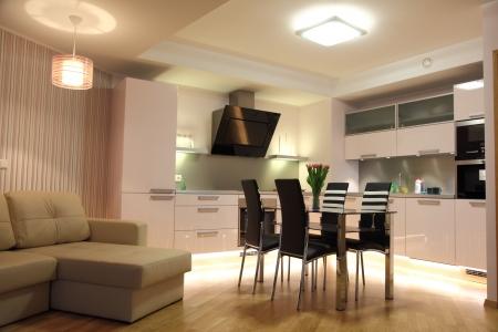 Beautiful modern nordic kitchen with modern lighting Stock Photo