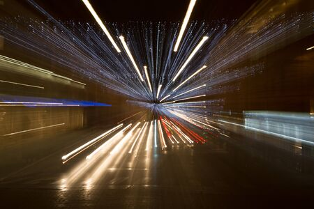 hyperspace: Tunnel lights Stock Photo