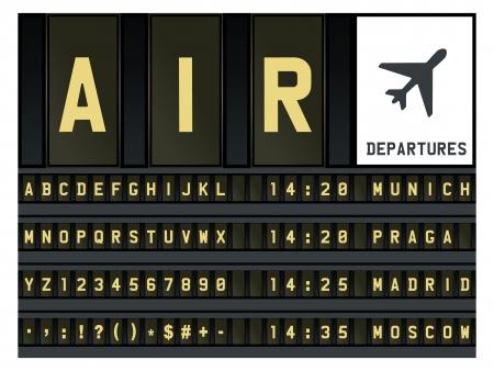mechanical panel: Airport timetable alphabet