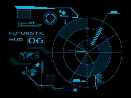 Futuristic virtual graphic user interface HUD