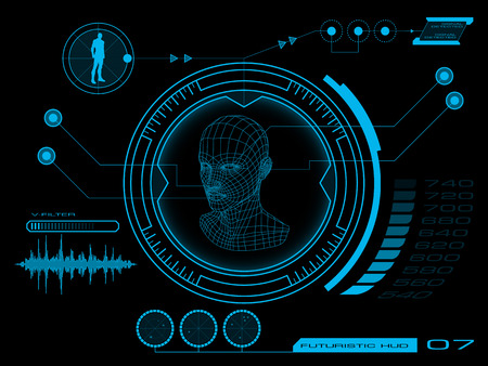 Futuristic virtual graphic user interface HUD