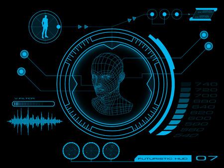 Interface virtuelle futuriste utilisateur graphique HUD Banque d'images - 25656725