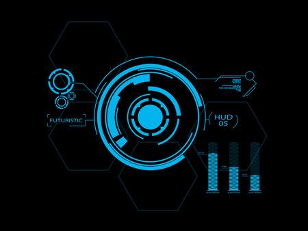 Futuristisch blau virtuellen grafischen Touch-Benutzeroberfläche HUD Standard-Bild - 25658116