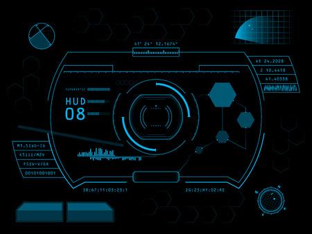 Futuristische blauwe virtuele grafische gebruikersinterface via aanraken HUD Stockfoto - 27438972