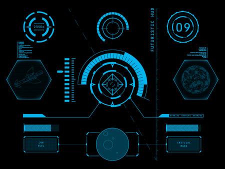 미래의 블루 가상 그래픽 터치 사용자 인터페이스 HUD