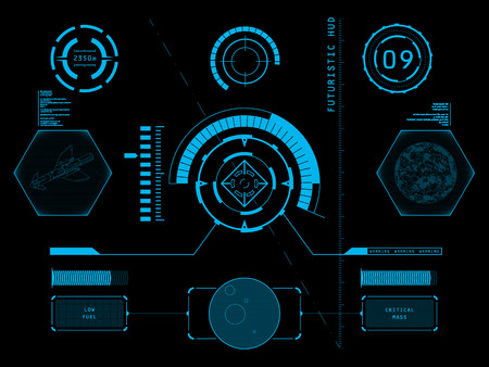 game design: Futuristic blue virtual graphic touch user interface HUD Illustration