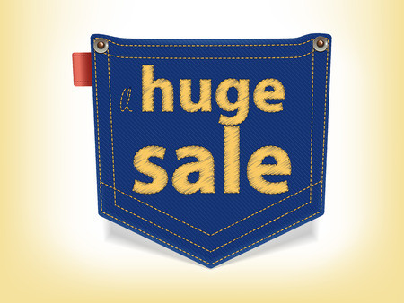 Sale Badge Blue Jeans Pocket Shaped with yellow stitches