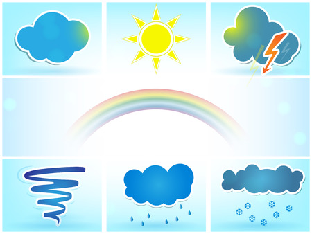 Weather vector icons set with sun, clouds, rain, tornado and snow Vector