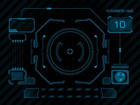 未来の青仮想グラフィック ユーザー インターフェース HUD をタッチします。  イラスト・ベクター素材
